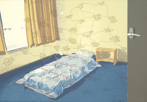 "© Beth Campbell 2007. ""Space (In/Out) In An Empty Bedroom""  Screenprint on mylar, 27.75"" x 39.75"" image and sheet. Price: $1,800"