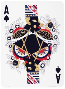 """Derrick Adams 2015, """"Game Changing,"""" screenprint with gold leaf, 30"""" x 22"""" image and sheet, edition of 16, $3,500 individually or $12,000 suite of 4"""