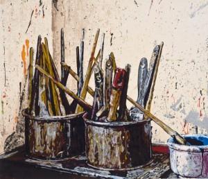 "© Joe Fig 2008, ""Brushes (Bill Jensen)"", screenprint, 13.75"" x 16"" image, 19.75"" x 21"" sheet. Price: $1,050"