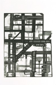 "© Sheila Pepe, 2004, ""Bi-Borough Paralax"". Intaglio print, 19.25"" x 14.5"" image, 30.75"" x 22.5"" sheet.Price: $500"
