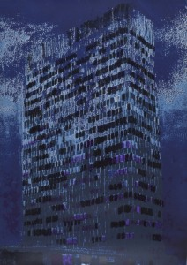 "© Enoc Perez 2011, ""Lever House (Indigo),"" screenprint. 48.25"" x 34"" image and sheet, edition of 20. Current price: $5,000"
