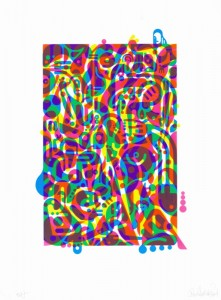 "© Ryan McGinness 2014, ""Untitled (Fluorescent Women Parts) 3,"" screenprint, 20"" x 13.5"" image, 27"" x 20"" sheet, edition of 10. Current price: $5,500"