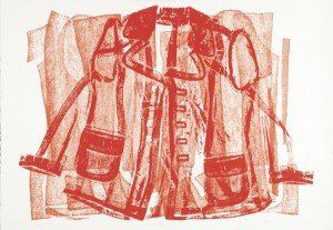 """© Jean Shin, 2005, """"Pressed Coat"""".  Collagraph made from the actual garment, 29""""x42"""".  Price: $2,500"""