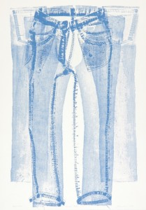 """© Jean Shin, 2005, """"Pressed Jeans"""".  Collagraph made from the actual garment, 42""""x29"""".  Price: $2,500"""
