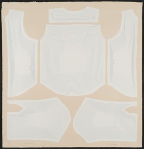 """© Jean Shin, 2006, """"Dimensions Variable (Shirt)"""", screenprint on handmade paper with paper pulp painting, 37.5"""" x 35"""" image, 40"""" x 38.5"""" sheet. Price: $2,500"""