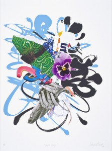"""© Shinique Smith 2008, """"Purple Pansy,"""" screenprint, archival inkjet, and collage, 30.25"""" x 22.5"""" image and sheet, edition of 10. Not available."""