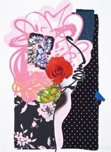 """© Shinique Smith 2008, """"Red Rose,"""" screenprint, archival inkjet, and collage, 30.25"""" x 22.5"""" image and sheet, edition of 10. Not Available."""