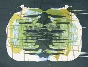 "© Janaina Tschäpe, ""Spilling Memory 47,"" 2014, screenprint monoprint, 22"" x 29."" Edition: unique. Current price: $4,000"