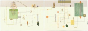 """© Dannielle Tegeder, 2004, """"Doxycycloia: City Safe Evacuation Plan..."""" Diptych screenprint with hand drawing, 26"""" x 72"""" total, 26"""" x 36"""" each panel. Price: $3,500."""