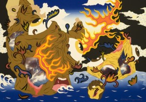 """© William Villalongo 2006, """"Through the Fire to the Limit"""", screenprint and archival inkjet print with appliqué. 28"""" x 40"""" image and sheet. Price: $1,500"""