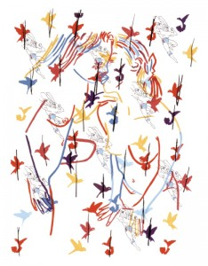 "© Ghada Amer, 2002, ""Superman and the Birds"". Screenprint,  28.75"" x 22.25"".  Price: $1,000"