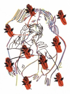 "© Ghada Amer, 2002, ""The Roses"". Screenprint,  28.75"" x 22.25"".  Price: $1,000"