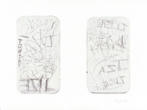 "© Rosemarie Fiore, 2003, ""MTA Redbird Series, Back Door Windows #33 Train"". Drypoint and collage, 37"" x 50."" Price: $900."