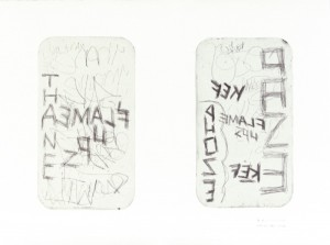 "© Rosemarie Fiore, 2003, ""MTA Redbird Series, Middle Door Windows #33 Train"". Drypoint and collage, 37"" x 50."" Price: $900"