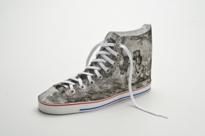 "© Jose Guinto 2007, ""found object: shoe/From Crusoe to Katrina,"" aquatint, etching, sugarlift, and screenprint on paper with shoelace and grommets.  6.5"" x 5"" x 13.5"" overall dimensions. Price: $1,000"