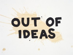 "Steve Lambert, 2010, ""OUT OF IDEAS,"" screenprint with coffee, whiskey, and beer hand additions on torn, crumpled, and burnt paper, 23"" x 30"" original image and sheet, edition of 12. Price: $1,200"