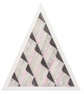 "© Jonggeon Lee 2013, ""Pyramid I,"" relief print, 32"" base x 36"" high image, 38"" x 42.75"" sheet, edition of 8. Price: $1,500"