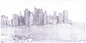 "© Joan Linder, 2003, ""may - december 2002"". Six-panel etching, 35.37"" x 70.5"" whole, 35.375"" x 11.75"" each panel. Not available."