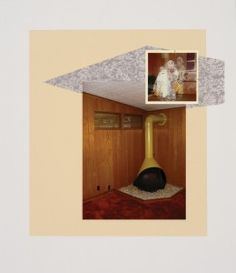"""© Steven Millar 2013, """"Interior with Ghosts"""" archival inkjet, screenprint, and collage, 13.5"""" x 13"""" image, 18"""" x 15.75"""" sheet, edition of 6. Price: $750"""