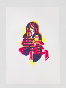 "© Ryan McGinness 2015, ""Mother & Child"" (Monoprint #9), unique screenprint monoprint, 60"" x 42."" Current price: $9,000"