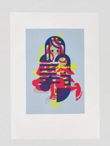 "© Ryan McGinness 2015, ""Mother & Child"" (Monoprint #20), unique screenprint monoprint, 60"" x 42."" Current price: $9,000"
