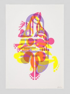 "© Ryan McGinness 2015, ""Mother & Child"" (Monoprint #48), unique screenprint monoprint, 43.5"" x 30."" Current price: $7,500"