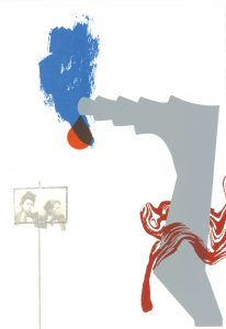 "© Carrie Moyer, 2004, ""For Sister Corita, v. 3"". Screenprint with flocking, 43.25"" x 30"".  Price: $750"