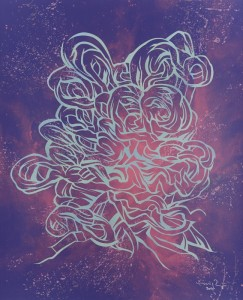 "© Emilio Perez 2014, ""Space Face Series (F4. S16),"" screenprint with hand cut stencil, 28.75"" x 23.50"" image and sheet, unique.  Price $2,500 framed."