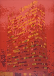 "© Enoc Perez 2011, ""Lever House (Red),"" screenprint. 48.25"" x 34"" image and sheet, edition of 20. Current price: $5,000"