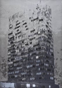 "© Enoc Perez 2011, ""Lever House (Silver),"" screenprint. 48.25"" x 34"" image and sheet, edition of 20. Current price: $5,000"