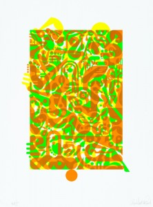 "© Ryan McGinness 2014, ""Untitled (Fluorescent Women Parts) 1,"" screenprint, 20"" x 13.5"" image, 27"" x 20"" sheet, edition of 10. Current price: $5,500"