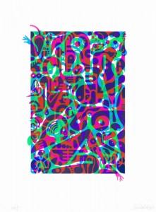 "© Ryan McGinness 2014, ""Untitled (Fluorescent Women Parts) 2,"" screenprint, 20"" x 13.5"" image, 27"" x 20"" sheet, edition of 10. Current price: $5,500"