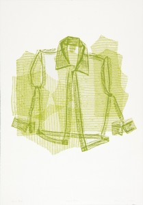 "© Jean Shin, 2005, ""Pressed Blouse"".  Collagraph made from the actual garment, 29""x42"".  Price: $2,500"