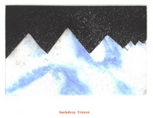 "© Amy Sillman & Jef Scharf, 1999, ""Funny-Guy, Junior: backdrop freeze"".  Portfolio of 12 intaglio prints with screenprinted text,  11"" x 9"" each sheet, 11.5"" x 9.5"" x .5"" portfolio.  Price:  $1,500 full portfolio."