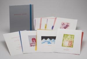 "© Amy Sillman & Jef Scharf, 1999, ""Funny-Guy, Junior,"" portfolio of 12 intaglio prints with screenprinted text,  11"" x 9"" each sheet, 11.5"" x 9.5"" x .5"" portfolio.  Price:  $1,500 full portfolio."
