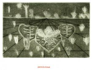 "© Amy Sillman & Jef Scharf, 1999, ""Funny-Guy, Junior: pernicious"".  Portfolio of 12 intaglio prints with screenprinted text,  11"" x 9"" each sheet, 11.5"" x 9.5"" x .5"" portfolio.  Price:  $1,500 full portfolio."
