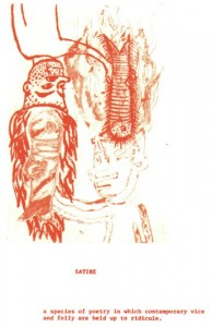 "© Amy Sillman & Jef Scharf, 1999, ""Funny-Guy, Junior: satire"".  Portfolio of 12 intaglio prints with screenprinted text,  11"" x 9"" each sheet, 11.5"" x 9.5"" x .5"" portfolio.  Price:  $1,500 full portfolio."