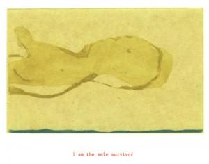 "© Amy Sillman & Jef Scharf, 1999, ""Funny-Guy, Junior: i am the sole survivor"".  Portfolio of 12 intaglio prints with screenprinted text,  11"" x 9"" each sheet, 11.5"" x 9.5"" x .5"" portfolio.  Price:  $1,500 full portfolio."