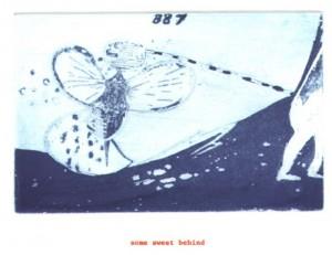 "© Amy Sillman & Jef Scharf, 1999, ""Funny-Guy, Junior: some sweet behind"".  Portfolio of 12 intaglio prints with screenprinted text,  11"" x 9"" each sheet, 11.5"" x 9.5"" x .5"" portfolio.  Price:  $1,500 full portfolio."