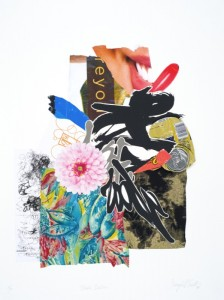 """© Shinique Smith 2008, """"Double Dahlia,"""" screenprint, archival inkjet, and collage, 30.25"""" x 22.5"""" image and sheet, edition of 10. Price: $2,200"""