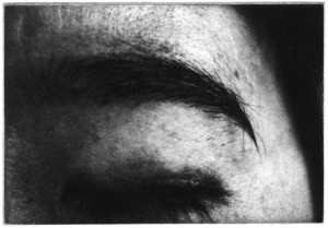 "© Lynne Yamamoto, 2001, ""Eyes, Dark.""  Portfolio of 16 photogravures and 2 screenprinted text pages, in a hand-made box, 3.5"" x 5"" each image, 9"" x  9"" each sheet, 9.75"" x 9.75"" x 1.25"" total box.  Price: $2,000"
