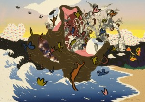 "© William Villalongo 2007, ""Noah's Ark"", screenprint and archival inkjet print with appliqué. 28"" x 40"" image and sheet. Price: $1,500"
