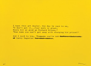 """© David Kramer 2012, """"Gagosian,"""" screenprint with hand additions, edition of 14, 22"""" x 30"""" image and sheet. Price: $1,700"""