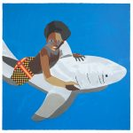 "Derrick Adams ""Shark Float"" 2017. Screenprint with archival inkjet print collage, 30"" x 30"" image and sheet. Edition of 12. Sale price: $3,500 / $4,000 framed"