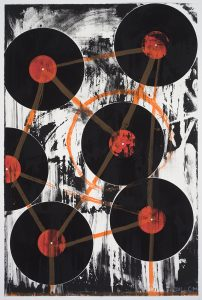 """Chris Martin """"Thursday Miles"""" 2011. Screenprint and archival inkjet collage, 42"""" x 27.75"""" image and sheet. Edition of 20. Price: $3,800"""