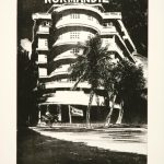 "Enoc Perez ""Hotel Normandie"" 2005. Etching, aquatint, 23.75"" x 17.5"" image, 30"" x 22.25"" sheet. Edition of 30. List price: $2,500; Sale price: $2,000 / $2,300 framed"