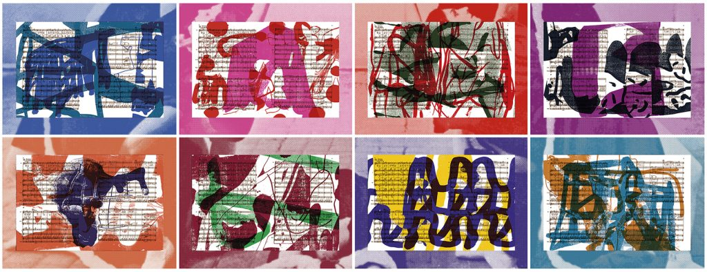 """© Arturo Herrera 2019, """"Las Bodas"""", suite of 8 silkscreen collages, 15.5"""" x 22"""" each sheet and image; 31"""" x 88"""" overall. Current price: $12,000"""